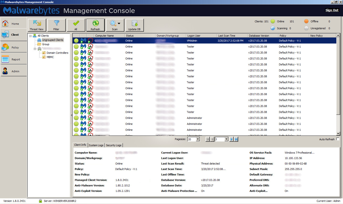 Management Console client view (Windows)